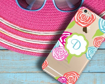 Flowers transparent Iphone 5 case clear with design, Pretty Iphone 6 Plus case clear, Pink Red blue, Monogrammed gift for daughter (1075)