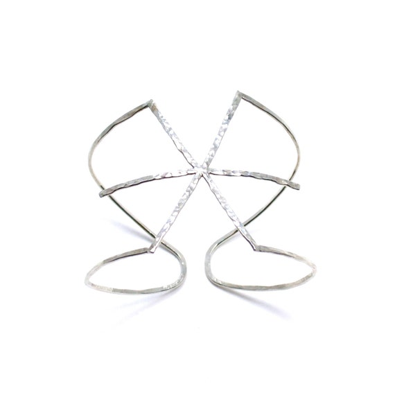Silver Star Cuff - Asterisk Bracelet - Hammered Silver Wide Bangle