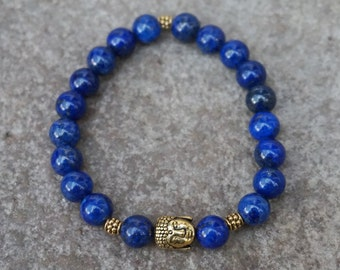 Bohemian Jewelry, Boho Beaded Bracelet, Blue Buddha Bracelet, Blue Bead Bracelet, Stretch Buddah Bracelet, Be Here Now, Dark Blue