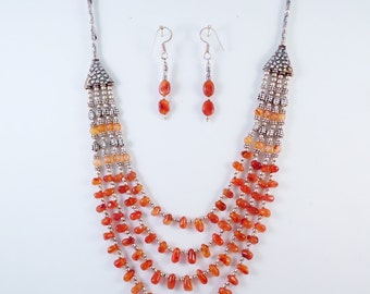 Carnelian and Silver Bead Necklace and Earrings-JS002