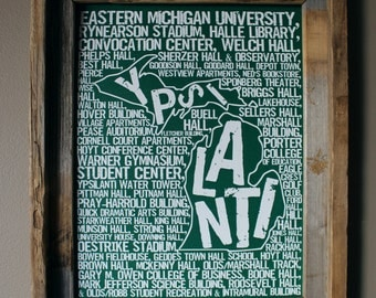 Ypsilanti Michigan - Eastern Michigan University - Whimsical College Word Map (Green & White) - Unframed
