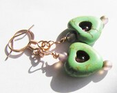 Dyed Green Howlite Heart with Pink Glass Beaded Dangle Earrings