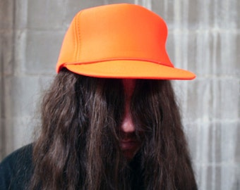 Vintage Deadstock 1980s Dayglow Orange Neon Hunting Cap Snapback NOS