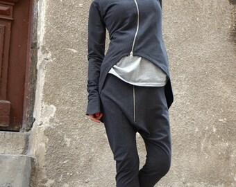 NEW Collection Loose Casual Dark Grey Drop Crotch Harem Pants / Extravagant Black Pants/Unisex pants by AKASHA A05368