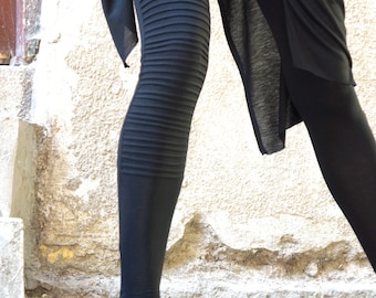 NEW COLLECTION Black Extra Long Leggings / Ribbed One Leg  Front / Viscose Elastic Back Ultra Soft and Comfy Tights by Aakasha