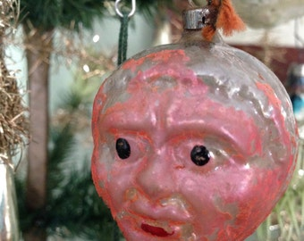 Antique Christmas Double Faced Man German Pink Glass Ornament Old Folk 1900s Xmas Tree Collectible