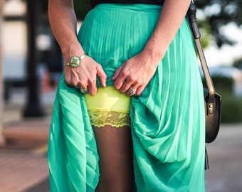 Spandex Modesty Shorts No Chafe Yellow Lace Tap Pants