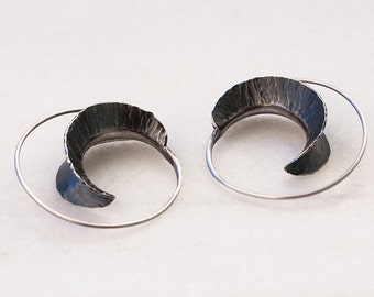 Forja - Exclusive oxidized sterling silver forged earrings