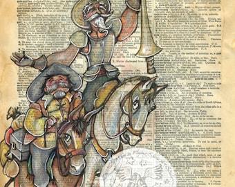 PRINT:  Don Quixote Mixed Media Drawing on Antique Dictionary