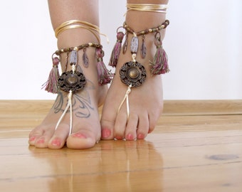 Vintage inspired boho BAREFOOT sandles, tassel barefoot sandals, beaded foot thongs, beach BOHO bohemian foot jewelry, bottomless shoes