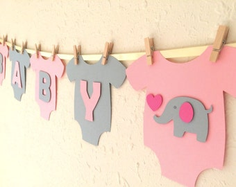 """Baby One-Piece Bodysuit """"BABY GIRL"""" Elephant Baby Shower Banner: Pink and Gray Elephant Baby Shower Decoration"""