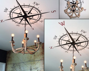 Compass Rose Vinyl Wall Decal for interior decor available in 40 colors and various sizes K514