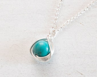 Turquoise Necklace, Turquoise Pendant Necklace, Silver Necklace, December Birthstone, Turquoise Sterling silver Necklace Minimalist Necklace