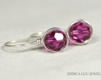 Fuchsia Swarovski Crystal Earrings Wire Wrapped Jewelry Handmade Swarovski Crystal Jewelry Sterling Silver Earrings Purple Earrings