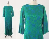 Vintage 60s Evening Gown - Long Royal Blue & Green Satin Damask Dress - 60s Bell Sleeve Dress by Linda California - Size Large to Medium