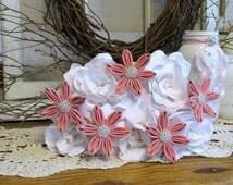 It's a Girl! Baby Shower Centerpiece Flowers, White & Pink Fabric Flower Bouquet, Handmade Bridal Bouquet, Girl Baby Shower