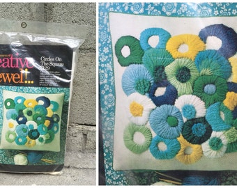 1971 Creative Crewel Craft Pillow Kit 'Circles on the Square' 7129 - An Erica Wilson Design - NIP