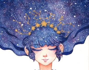 Star Constellation Lolita Print 4x6 8x10 Watercolor Sweet Kawaii Original Art Postcard