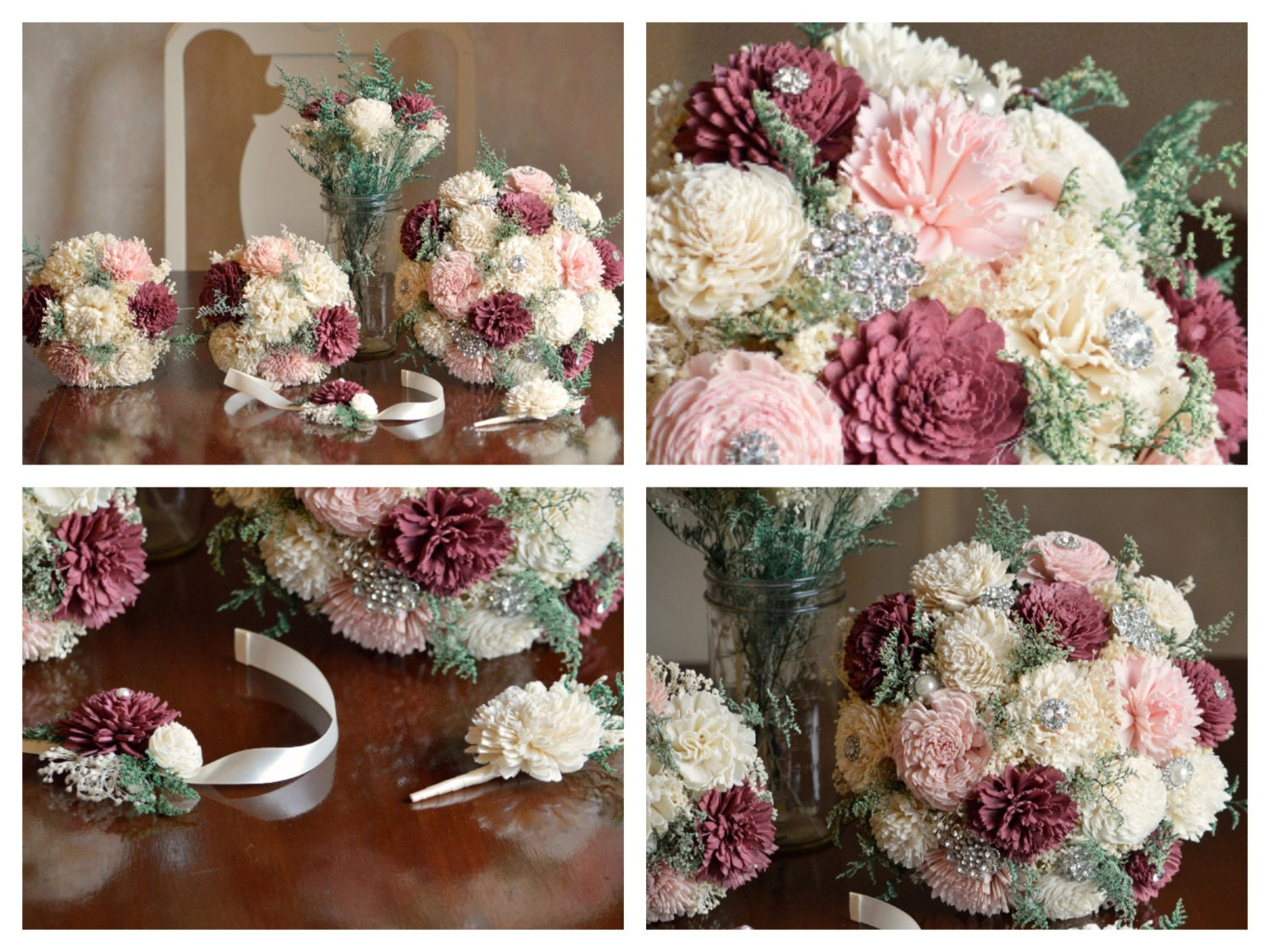 Bridal Burgundy And Blush Wedding Bouquet Sola Flowers And