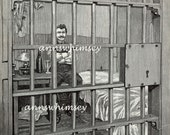 Chicago Haymarket Bombing August Spies Art Print in Chicago Cell Awaiting Execution ACTUAL BOOK PRINT, Not Restored #125