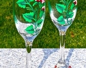 Painted Champagne Glasses With Red Roses, Wedding Glasses, Gifts For Her, Mother's Day Gift