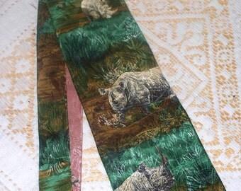 Vintage Endangered Species Necktie  - Black Rhino - 100% Silk - Made in USA