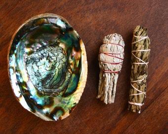 Cleansing Smudge Kit Yerba Santa Bundle, Sage Bundle, Abalone Shell, Energy Clearing Herbs Ritual Set Altar Kit Smudging Cleansing Purifying