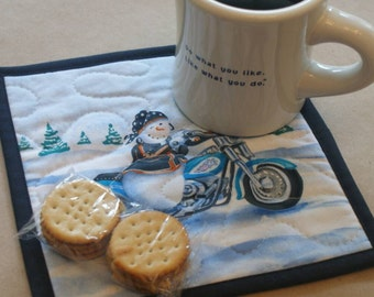 Motorcycle Snowman Mug Rug, Snack Mat, Fabric Coaster, Pot Holder, Trivet, Secret Santa, Gifts Under 10, Biker Chick, Lady Snowman, Winter