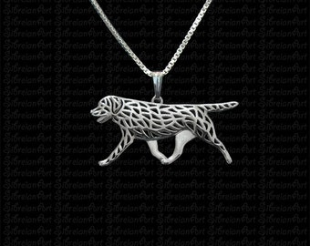 Labrador Retriever movement- sterling silver pendant and necklace