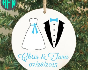 Our First Christmas Ornament, Personalized, Couples Gift, Wedding Gift, Newlywed, Just Married, Mr and Mrs, Bridal Shower Gift, Christmas