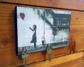 "SALE  BANKSY Key Holder ""GiRL With BALLOoN"" Key Holder & Wood Mounted Wall. Art Graffiti Art."