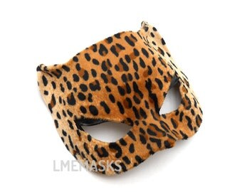 Cat Woman leather mask covered leopard velvet synthetic animal print Bachelorette Party Gift Superhero Sexy Halloween Masquerade Carnival
