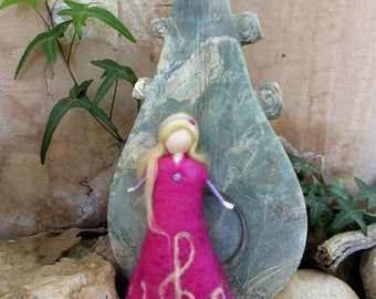 Music Doll,Pink Fairy,Pink Doll,Needle Felting,Waldorf Inspired,Standing Doll,Wool Doll,Music Art,G clef Doll.