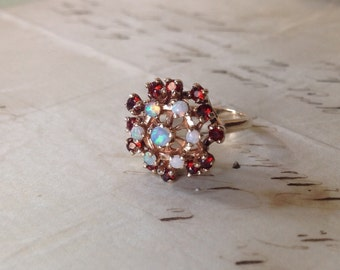 NEW PRICE - 1930's Solid 10K Yellow Gold Genuine and Natural Opal and Pyrope Garnet Ring - Size 6 1/2