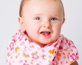 """Modern Bib (Pink Ever Flowers) All in One Scarf & Bib """"Scabib"""" TM for babies or toddlers"""