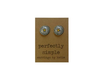Daisy (hand drawn) stud earrings