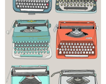 A4 Retro typewriters collection print - The Type Set grey, red, turquoise