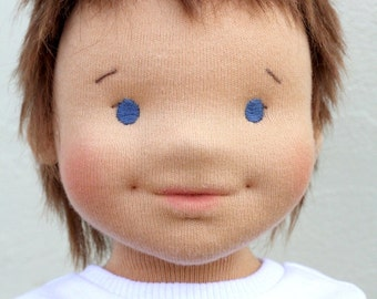 "Waldorf sculptural face doll 17,5"" inches, ""boy Stepan""   - A gift for birthday - girl"