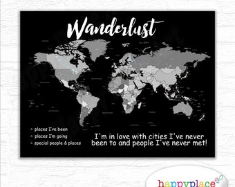 Grayscale print etsy large instant download world map map download grayscale wanderlust map push pin gumiabroncs Choice Image