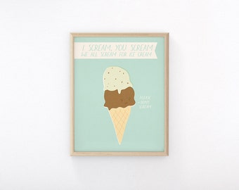 "Printable Art ""I Scream"" Ice Cream Print, Cute Wall Art, I Scream, You Scream, We All Scream For Ice Cream, Peachlings, Wall Decor"