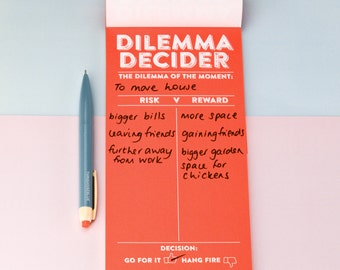 List Pad - Dilemma Decider Notepad - notepad, stationery, fun, quirky paper goods, gift for her, friend, stationery lover, stocking filler