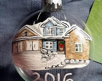 Family Ornament Hand Painted House Portrait