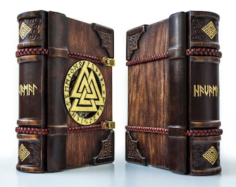 The Viking wooden / leather journal, 7 x 9 inches, art journal, magic journal, grimoire, book of shadows, Norse, Havamal, Nordic, Odin