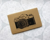 Vintage Canon camera note book | Retro | Moleskine | Cahier Journal | Lined pages | Lino print | Handmade | Pocket size |