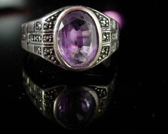 Vintage Amethyst Ring Sterling size 6 1/2 Hallamark W marcasite setting ladies fine jewelry solitaire purple aquarius birthstone february