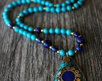 Lapis and Turquoise Statement Necklace, Nepalese Lapis Lazuli Necklace, Blue Gold Jewelry, Tribal jewelry, Tibetan  Jewelry