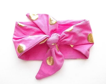 Headband in Hot Pink with Gold Dots Jersey Knit for Baby or Toddler - READY TO SHIP