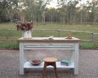 Flash Sale! Industrial Recycled Retro Wooden High Bench Dining Bar Table / Rustic White and Timber Kitchen Island Desk + Drawers & Shelves
