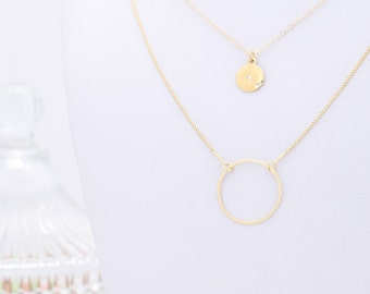 Gold Layered Disc necklaces Set Of Two Circle Necklaces Double Strand Karma and Coin Necklace delicate gold filled jewelry.
