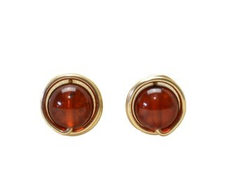 Baltic Amber Stud Earrings - Handmade Wire Wrapped, Gold Filled Gemstone Studs